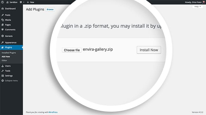 From the Plugins installation screen you can choose the envira-gallery.zip file to install.