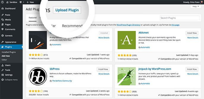 Select the Upload Plugin button to proceed with installing Envira Gallery.