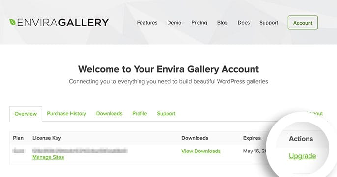 Select the Upgrade link in the Overview tab of your Envira Gallery account to upgrade your license.