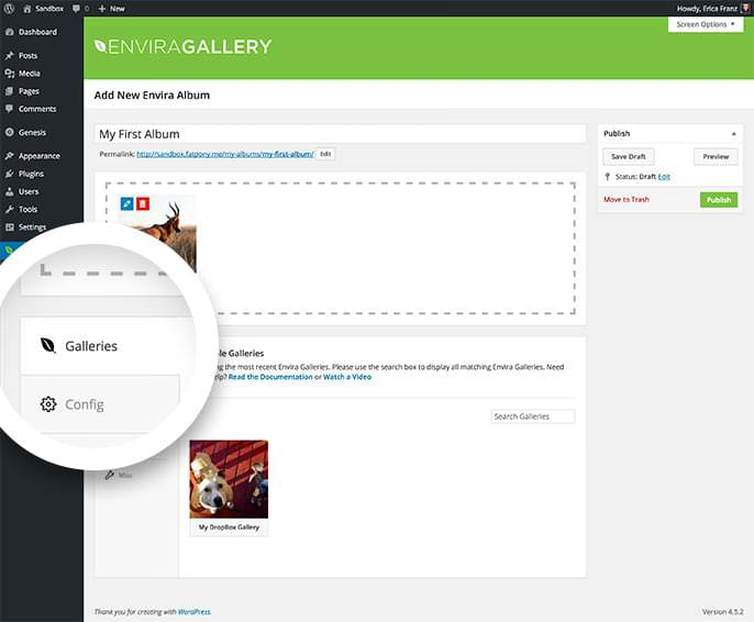 Your available galleries can be found in the Galleries tab when editing your Album.