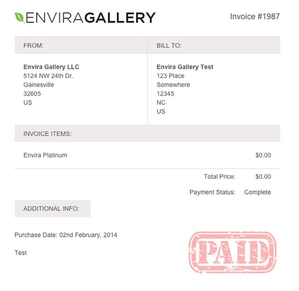 Invoice-in-Envira-Gallery