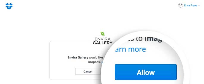 You'll be asked to authorize Envira Gallery by Dropbox.