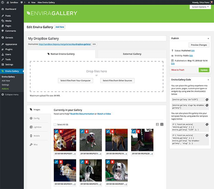 Images added from Dropbox will appear in the Images tab when editing your gallery.