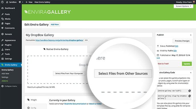 Select Files From Other Sources button will provide additional ways you can add images and videos to your gallery.