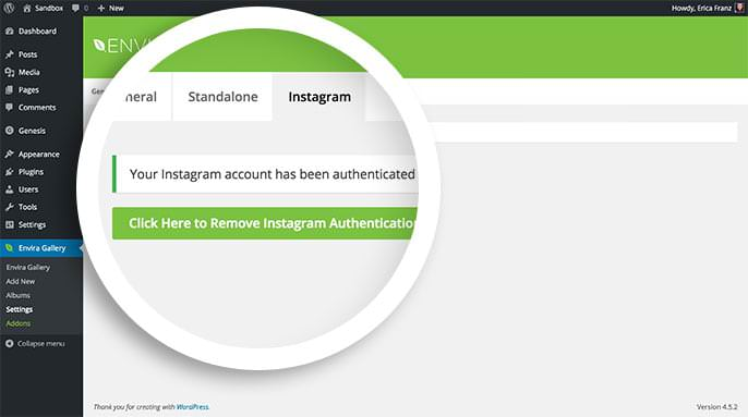 A success message will appear when you've finished authenticating Instagram with Envira.