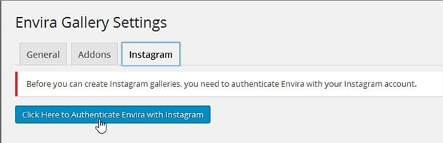 Authenticate Instagram