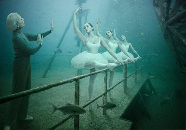 Ballerinas dance on a sunken ship