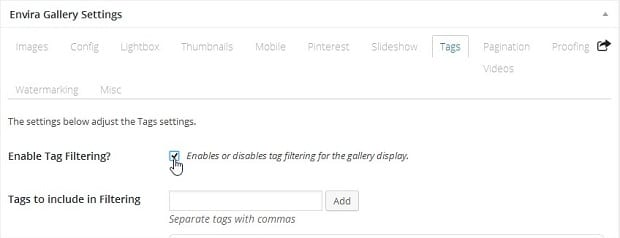 Enable Tag Filtering