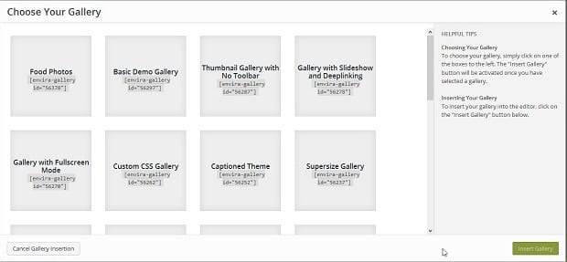 Gallery Shortcode Screen