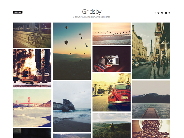 gridsby is a album showcase theme for the photographers it looks like pinterest the theme is fully responsive it has the features to add images easily on