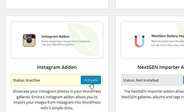 Install Instagram Addon