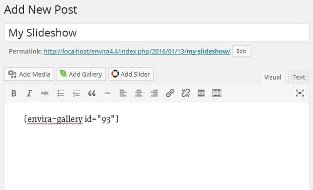Add New Slideshow Post