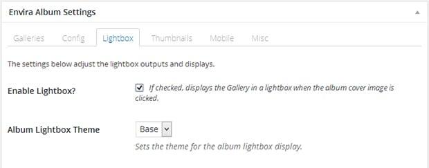 Album Lightbox Settings