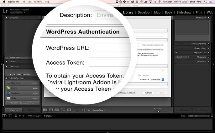 Add the WordPress URL and Access Token to Authenticate Lightroom with your WordPress site.