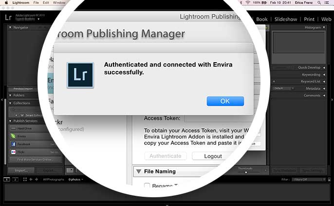 Once you've successfully authenticated Lightroom with your WordPress site you'll see a dialog popup with a success message.