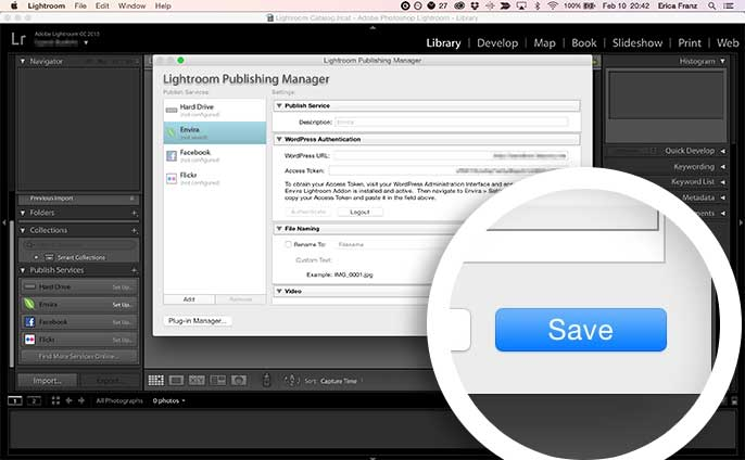 Select the Save button to finalize the WordPress Authentication with Lightroom.