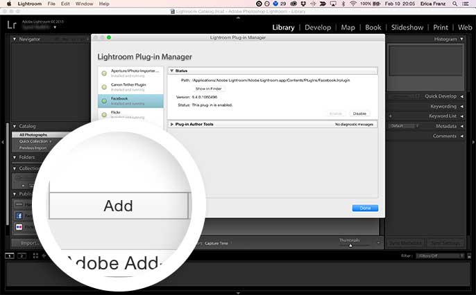 Select the Add button to install the Envira Lightroom Addon.