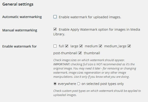 Image Watermark Settings