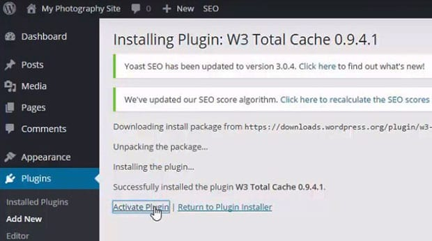 Activate W3 Total Cache