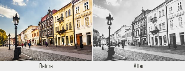 Vintage Black and White Effect Before After