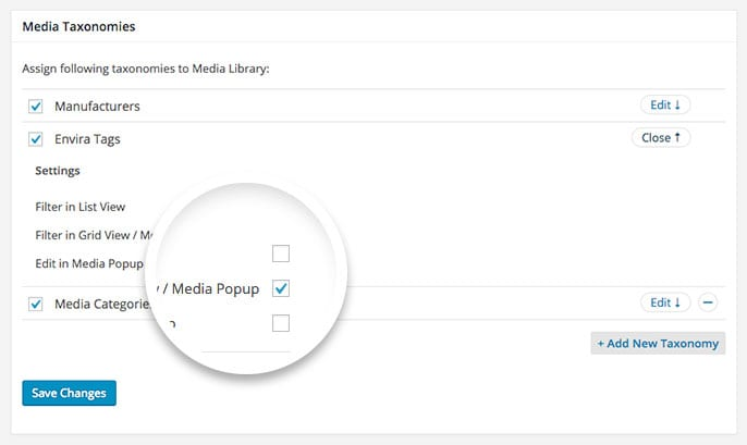 """Selecting the """"Filter in Grid View / Media Popup"""" Option"""