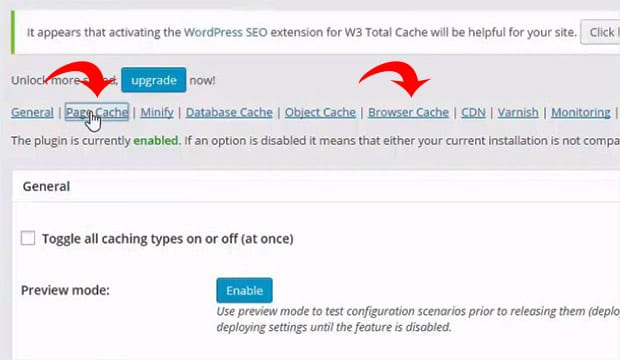Enable Page and Browser Cache