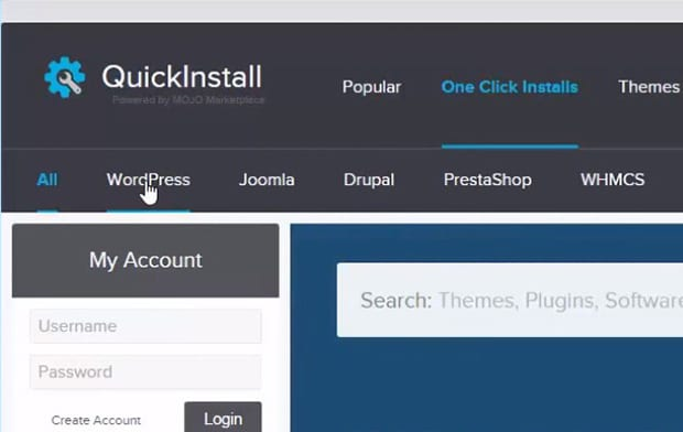 Select WordPress from Quick Install