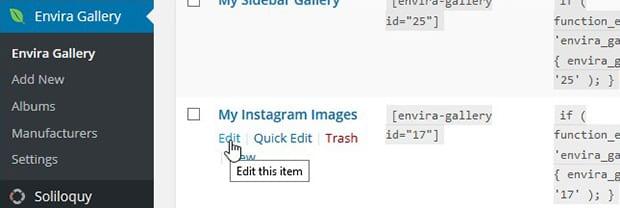 Edit Instagram Gallery