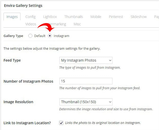Gallery Type and Instagram Settings