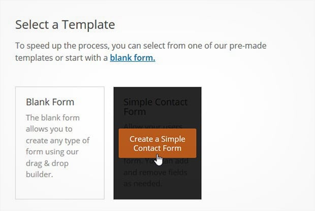 Select Contact Form Template