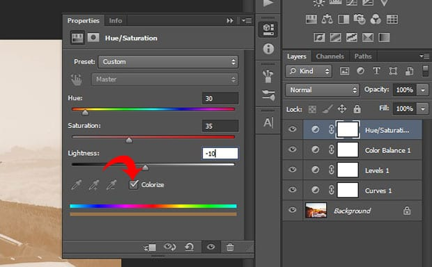 Hue Saturation Settings