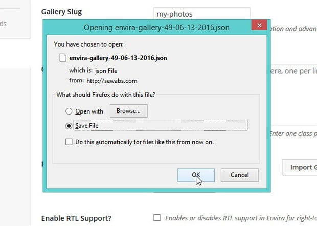 How to Save Gallery