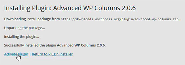 Activate Advanced WP Columns Plugin
