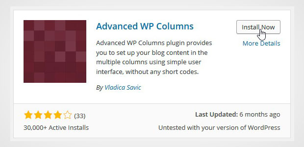 Install the Advanced WP Columns Plugin