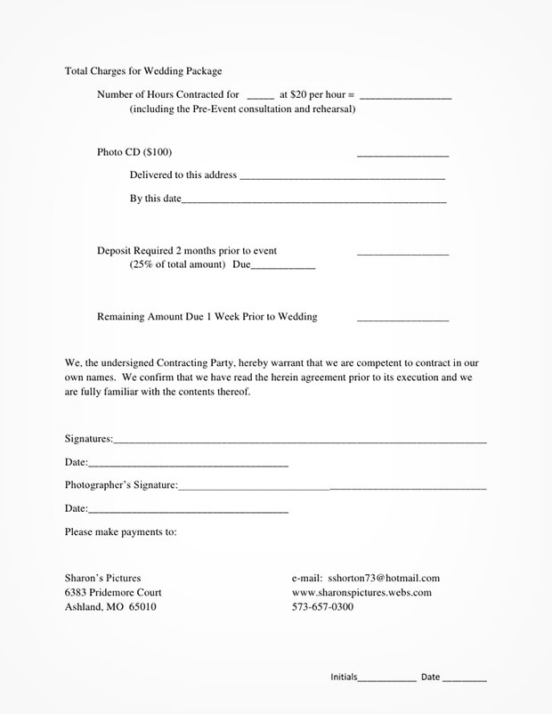 sample wedding photography contract template
