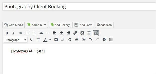 Shortcode Booking Form