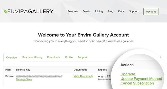 From your Envira Gallery account select the 'Cancel Subscription' link.