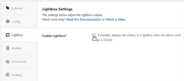 Disable Lightbox