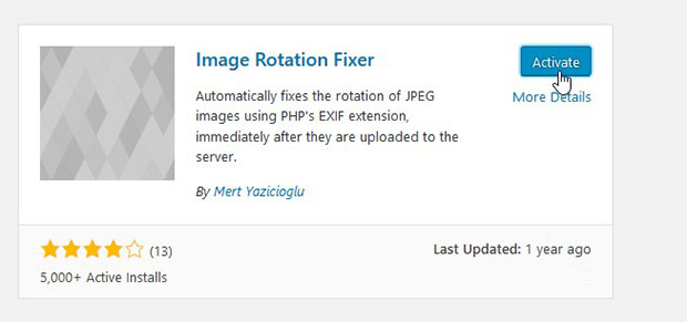 Activate Image Rotation Fixer