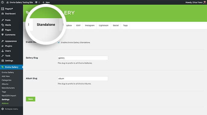 Configure the Standalone feature within the Standalone tab on the Envira Settings page.