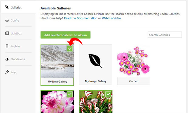 Add Galleries in Photo Album