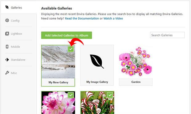 Add Galleries in Photo Album
