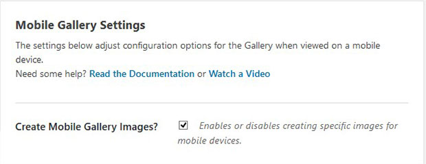 Enable Gallery for Mobile Devices