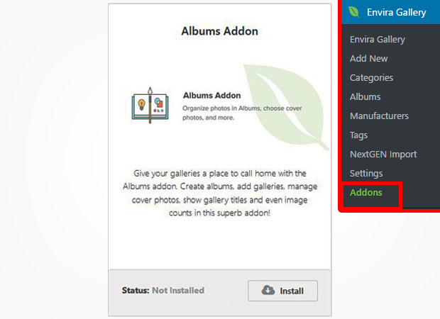 installing the albums addon