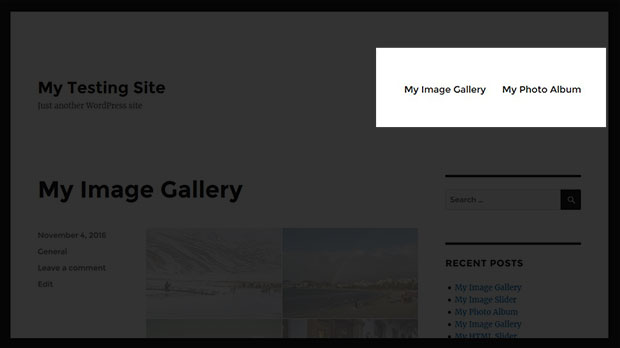 Image Galleries and Albums to WordPress Menu