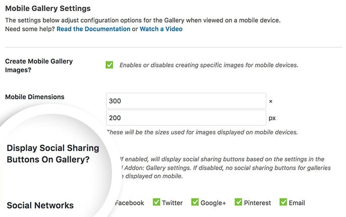 Social Addon options in the Mobile Gallery Settings