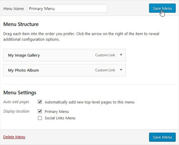 wordpress how to add menu to image