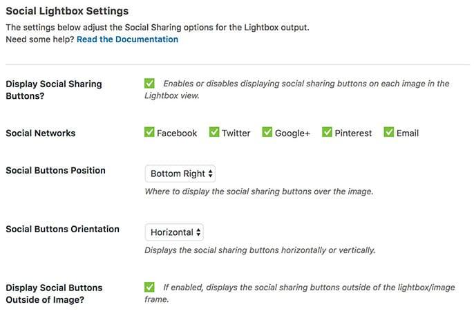 Social Addon Lightbox Settings