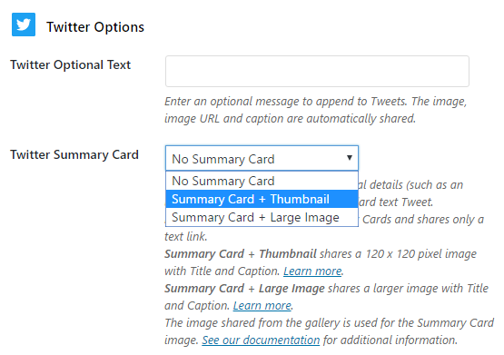 Now you can enable Twitter summary cards with thumbnails or large images