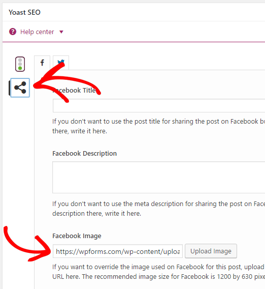 Yoast SEO Facebook thumbnail settings